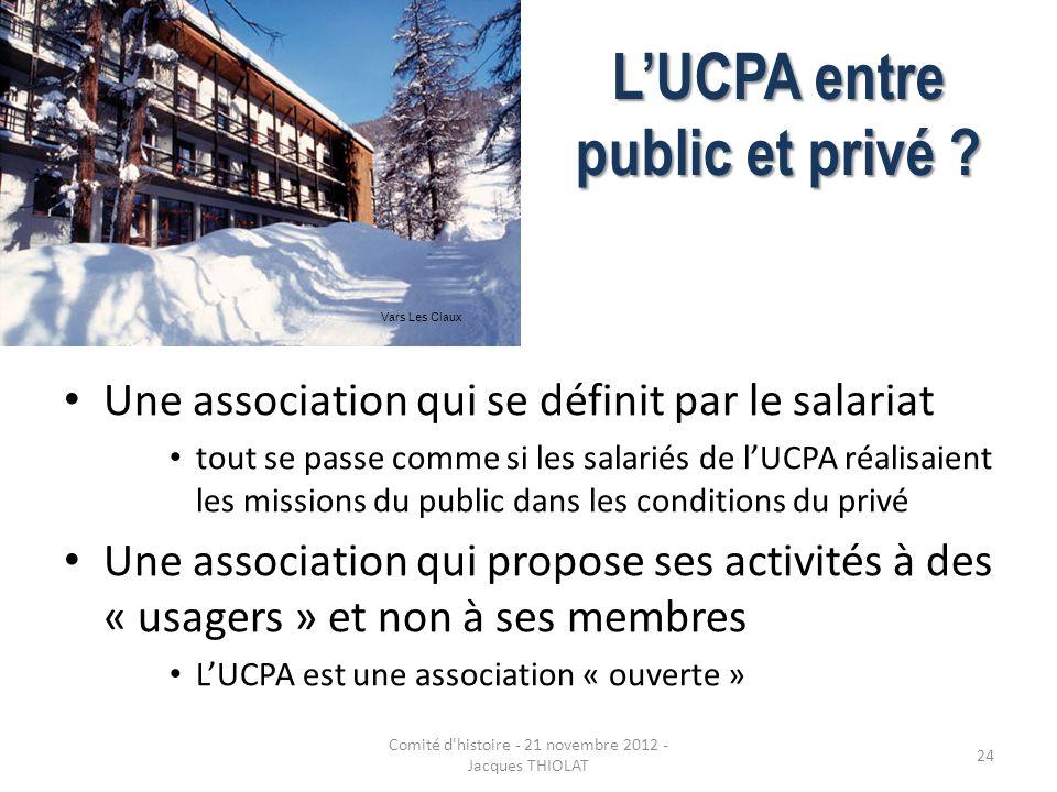 LUCPA entre public et privé ? Une association qui se définit par le salariat tout se passe comme si les salariés de lUCPA réalisaient les missions du