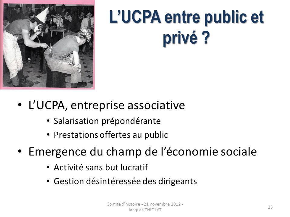LUCPA entre public et privé ? LUCPA, entreprise associative Salarisation prépondérante Prestations offertes au public Emergence du champ de léconomie