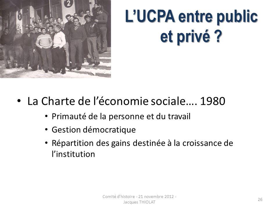 LUCPA entre public et privé ? La Charte de léconomie sociale…. 1980 Primauté de la personne et du travail Gestion démocratique Répartition des gains d