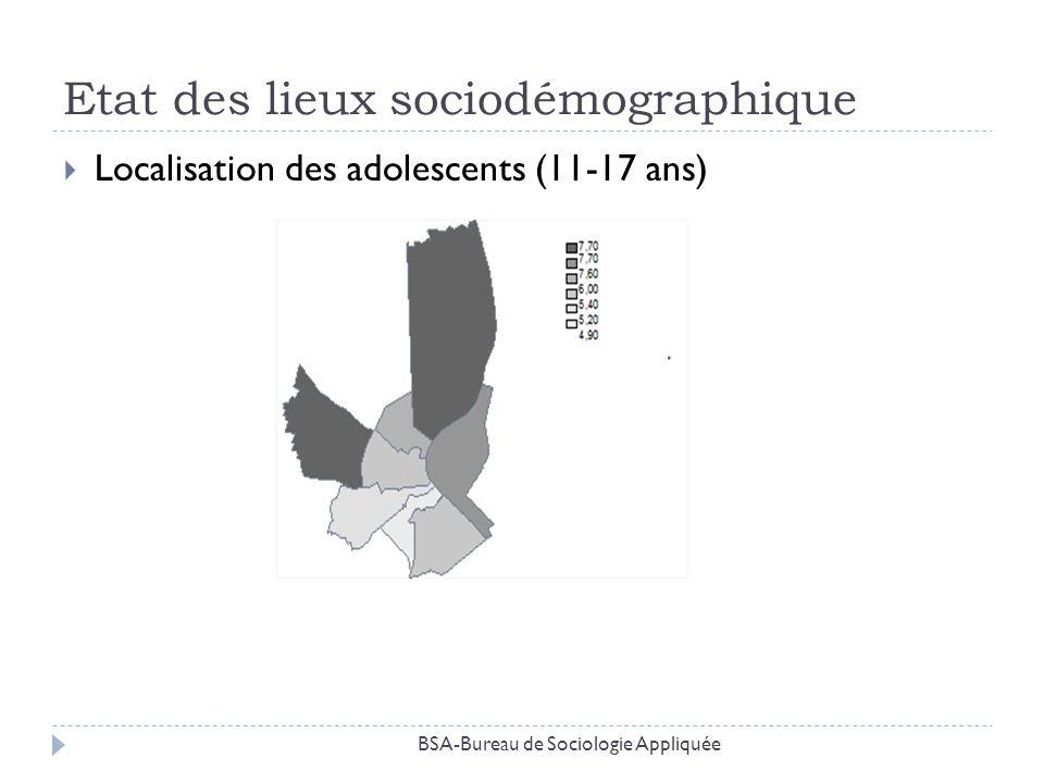 Etat des lieux sociodémographique Localisation des adolescents (11-17 ans) BSA-Bureau de Sociologie Appliquée