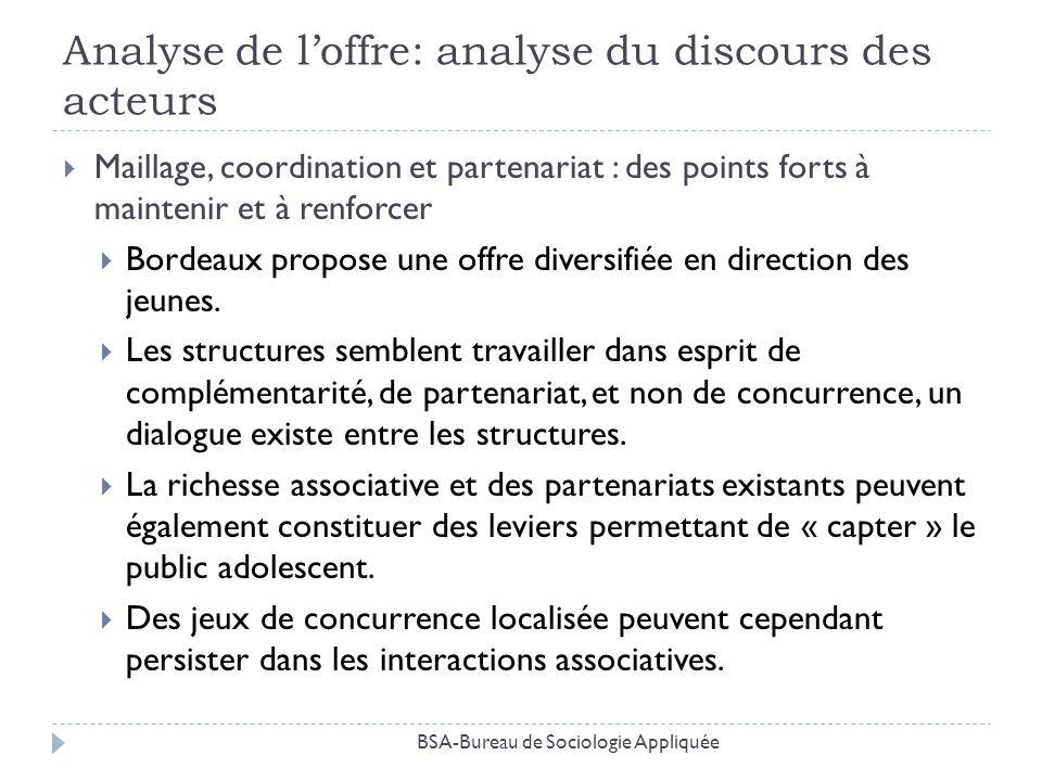 Analyse de loffre: analyse du discours des acteurs Maillage, coordination et partenariat : des points forts à maintenir et à renforcer Bordeaux propos