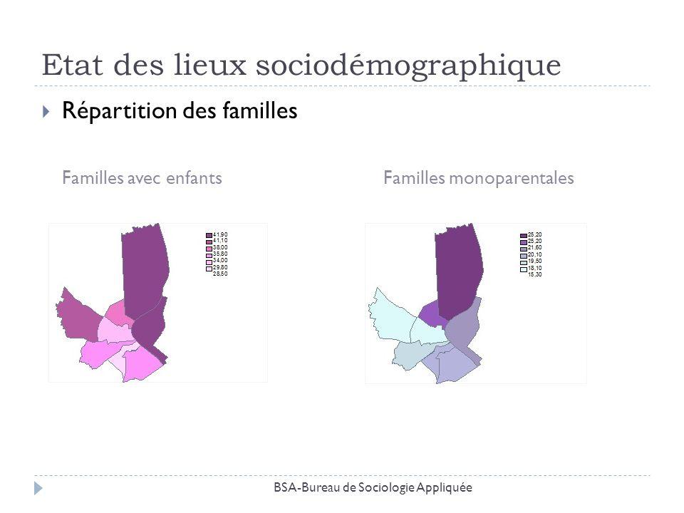 Etat des lieux sociodémographique Répartition des familles Familles avec enfantsFamilles monoparentales BSA-Bureau de Sociologie Appliquée