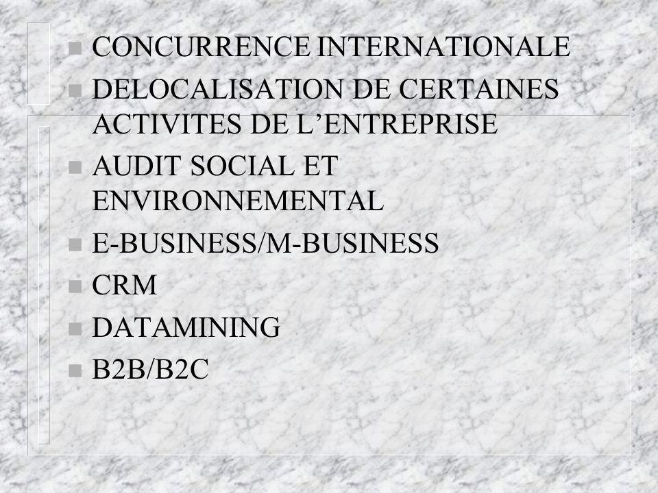 n CONCURRENCE INTERNATIONALE n DELOCALISATION DE CERTAINES ACTIVITES DE LENTREPRISE n AUDIT SOCIAL ET ENVIRONNEMENTAL n E-BUSINESS/M-BUSINESS n CRM n DATAMINING n B2B/B2C