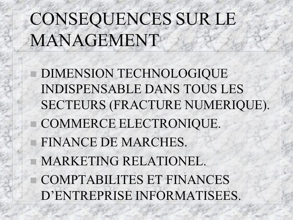 CONSEQUENCES SUR LE MANAGEMENT n DIMENSION TECHNOLOGIQUE INDISPENSABLE DANS TOUS LES SECTEURS (FRACTURE NUMERIQUE).