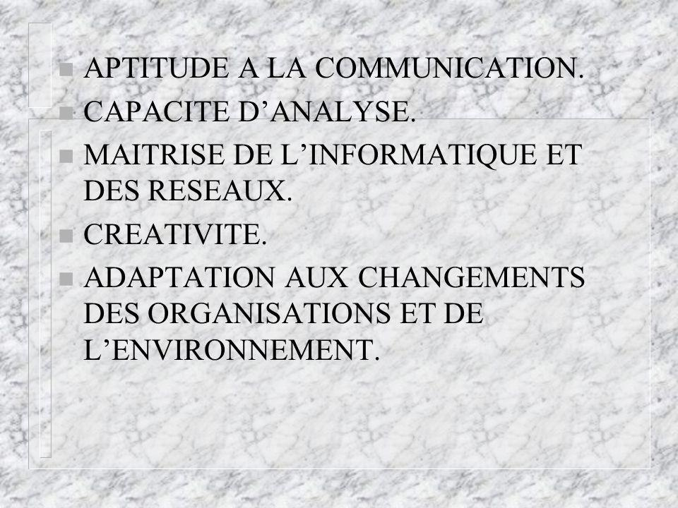 n APTITUDE A LA COMMUNICATION. n CAPACITE DANALYSE.