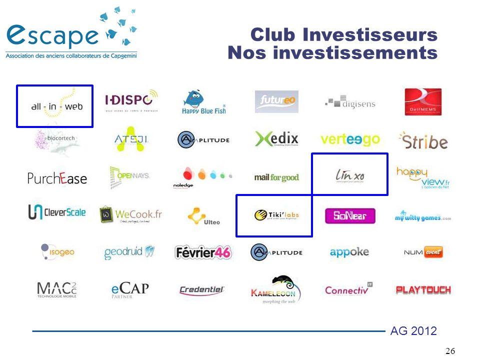 26 AG 2012 Club Investisseurs Nos investissements