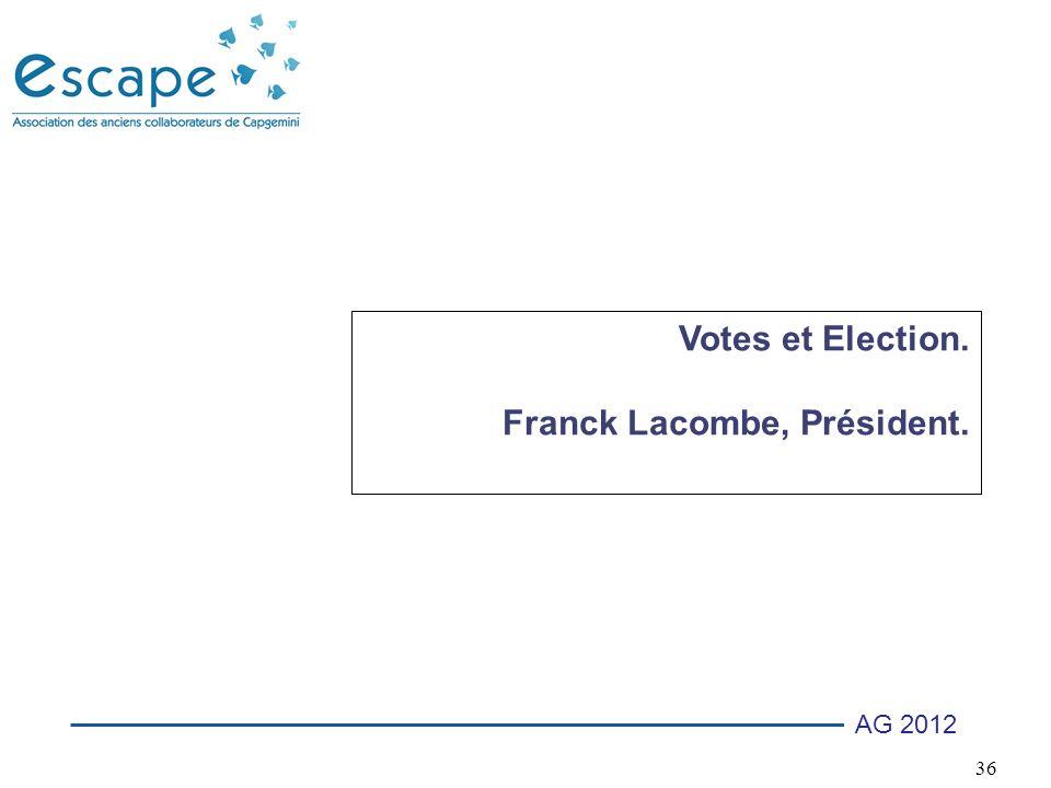36 AG 2012 Votes et Election. Franck Lacombe, Président.