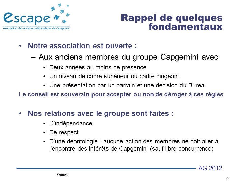 37 AG 2012 Votes AGO –Quitus des comptes –Quitus de la gestion Franck