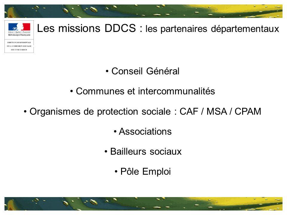 Les missions DDCS : les partenaires départementaux Conseil Général Communes et intercommunalités Organismes de protection sociale : CAF / MSA / CPAM A