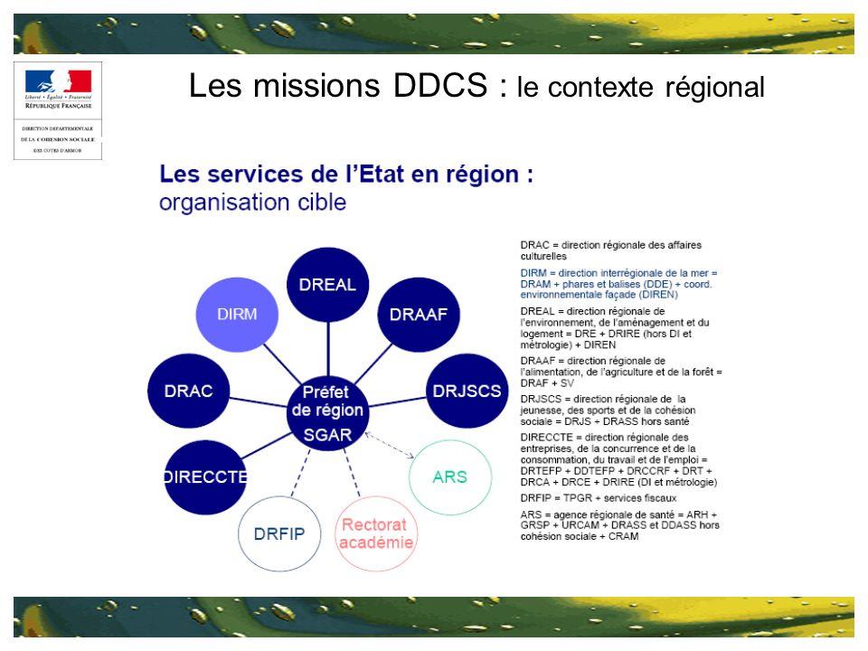 Les missions DDCS : le contexte régional