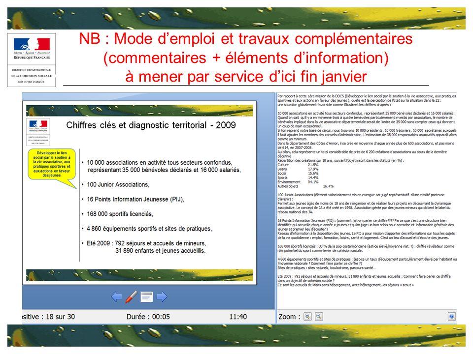 NB : Mode demploi et travaux complémentaires (commentaires + éléments dinformation) à mener par service dici fin janvier