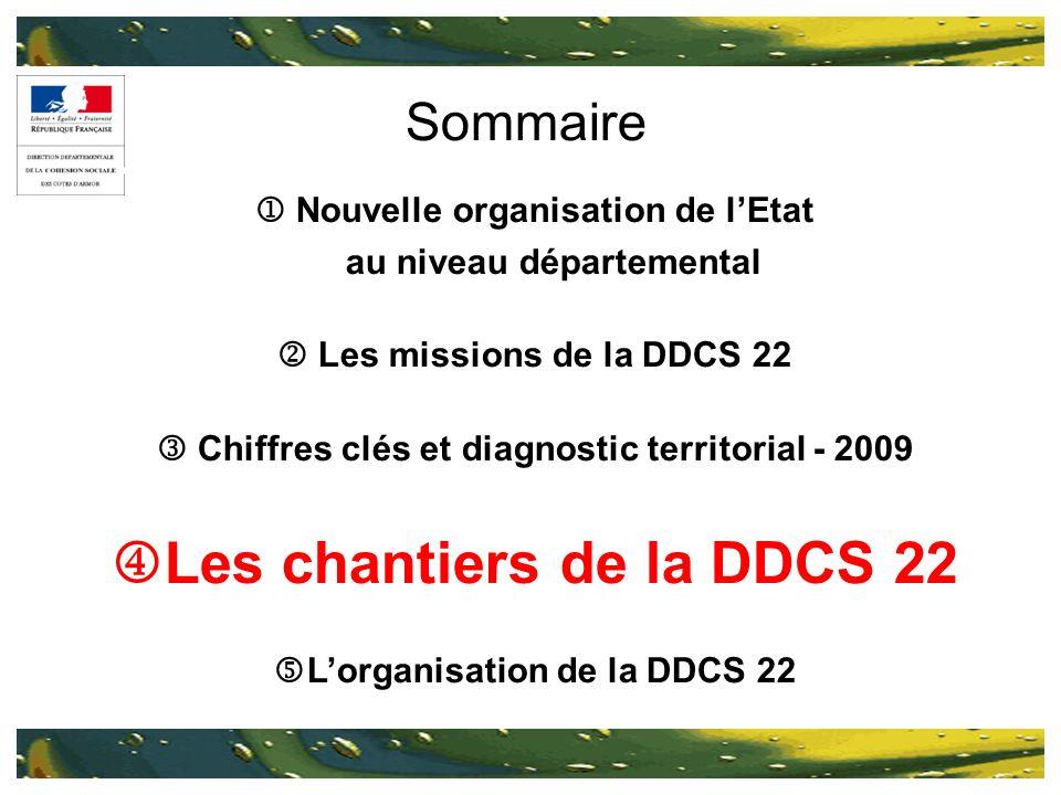 Sommaire Nouvelle organisation de lEtat au niveau départemental Les missions de la DDCS 22 Chiffres clés et diagnostic territorial - 2009 Les chantier