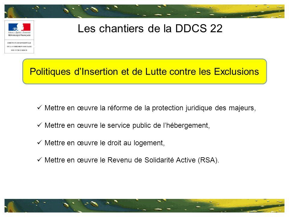 Les chantiers de la DDCS 22 Mettre en œuvre la réforme de la protection juridique des majeurs, Mettre en œuvre le service public de lhébergement, Mett