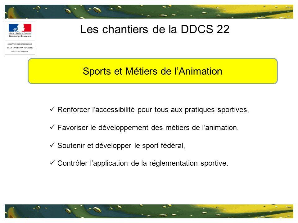 Les chantiers de la DDCS 22 Renforcer laccessibilité pour tous aux pratiques sportives, Favoriser le développement des métiers de lanimation, Soutenir