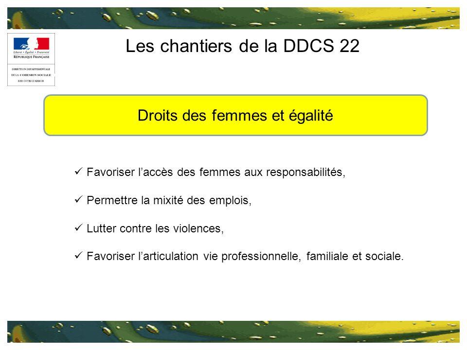 Les chantiers de la DDCS 22 Favoriser laccès des femmes aux responsabilités, Permettre la mixité des emplois, Lutter contre les violences, Favoriser l