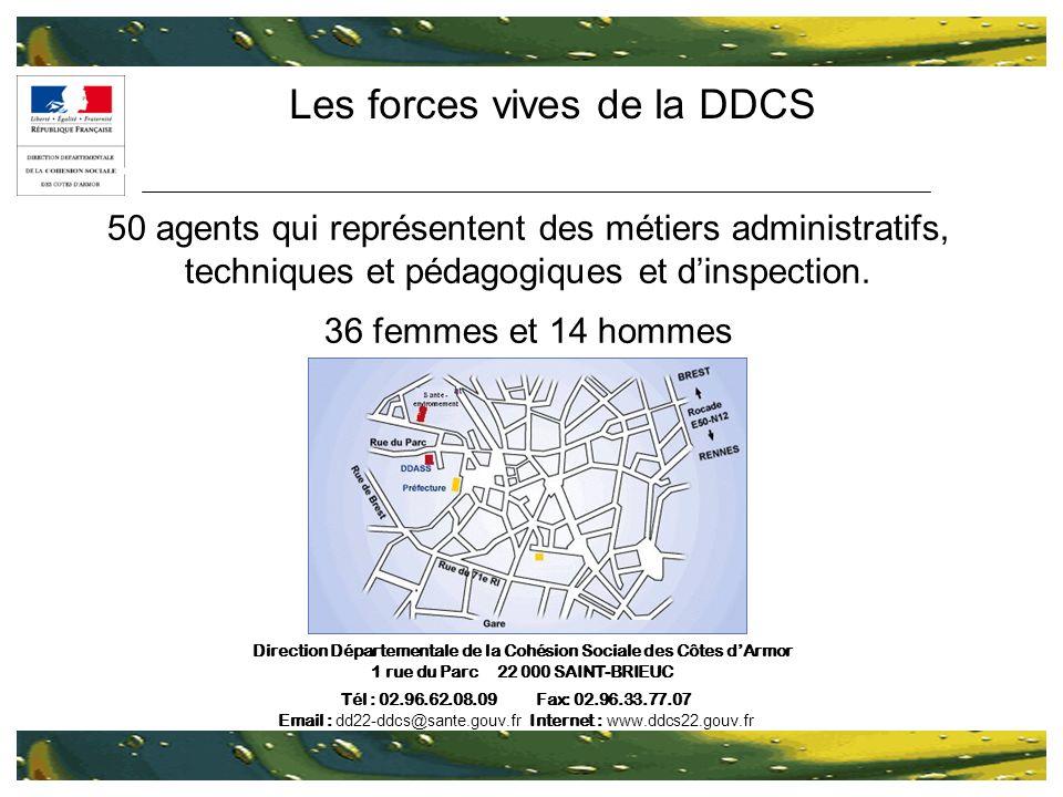 Les forces vives de la DDCS 50 agents qui représentent des métiers administratifs, techniques et pédagogiques et dinspection. 36 femmes et 14 hommes D