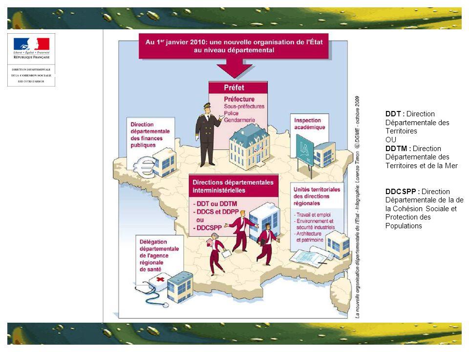 DDT : Direction Départementale des Territoires OU DDTM : Direction Départementale des Territoires et de la Mer DDCSPP : Direction Départementale de la