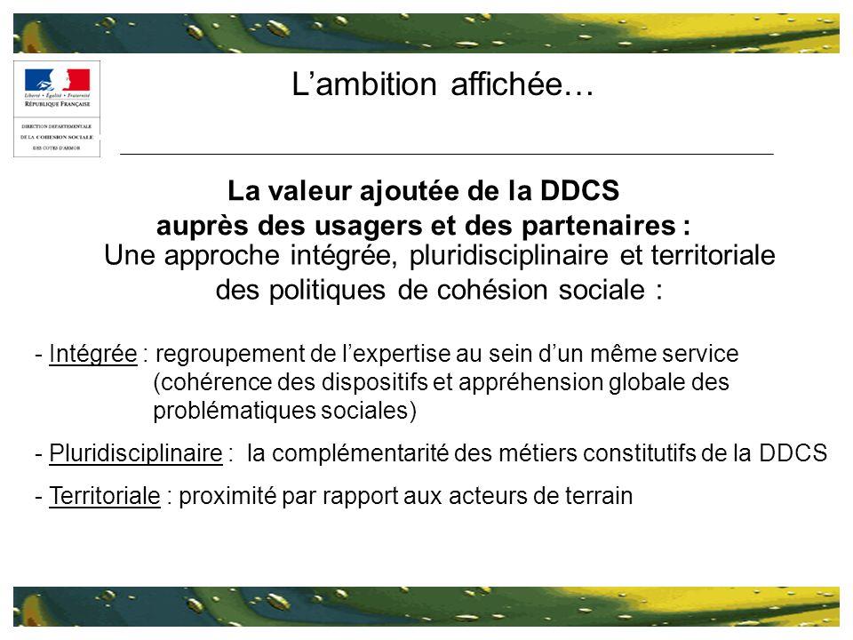 Lambition affichée… La valeur ajoutée de la DDCS auprès des usagers et des partenaires : Une approche intégrée, pluridisciplinaire et territoriale des