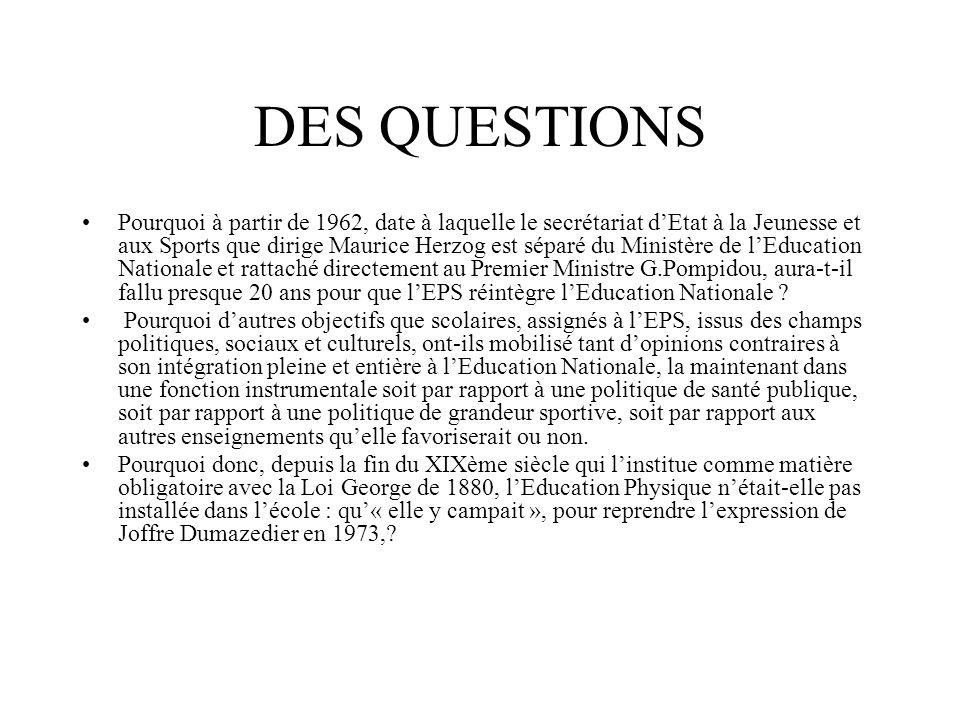 UN CONSTAT Alain Savary dans le numéro de rentrée 1982 de la revue EPS : « Lintégration a pour ambition de placer lEPS au même rang que les autres disciplines à égalité de droits et de devoirs.» La décision dintégration au Ministère de lEducation Nationale qui, un quart de siècle plus tôt, avait dû être inscrite comme lune des 110 propositions du candidat socialiste François Mitterrand pour devenir effective avec lélection du Président de la République ne semble donc soulever aujourdhui aucune réserve(à relativiser actuellement) Le destin scolaire de léducation physique semble durablement scellé mais son inscription dans la politique éducative des forces politiques au pouvoir actuellement, ne garantit pas son statut denseignement obligatoire dans « le socle commun des enseignements fondamentaux » comme latteste la loi Fillon précédée par le rapport Thélot remis à lex-Premier Ministre, Jean Pierre Raffarin, le 19 octobre 2004.
