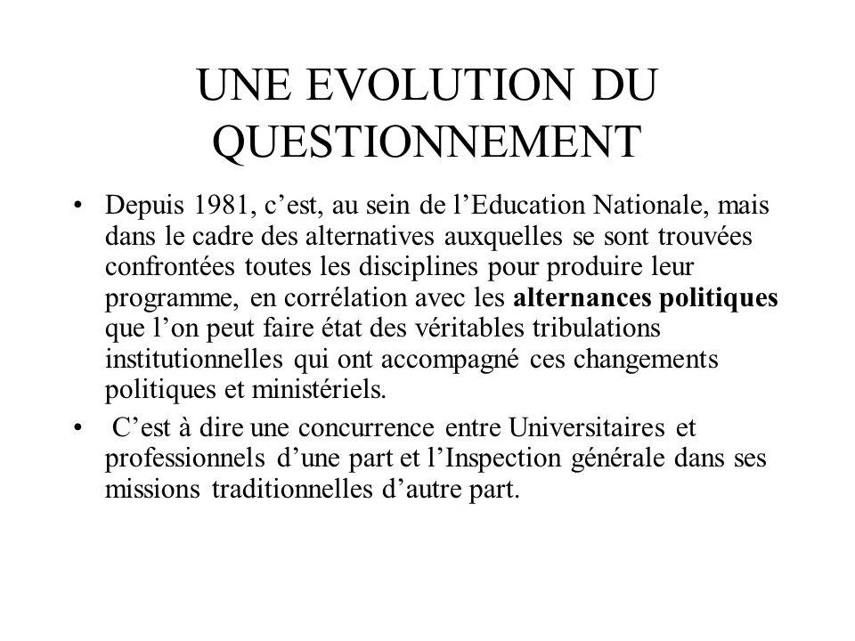 UNE EVOLUTION DU QUESTIONNEMENT Depuis 1981, cest, au sein de lEducation Nationale, mais dans le cadre des alternatives auxquelles se sont trouvées co