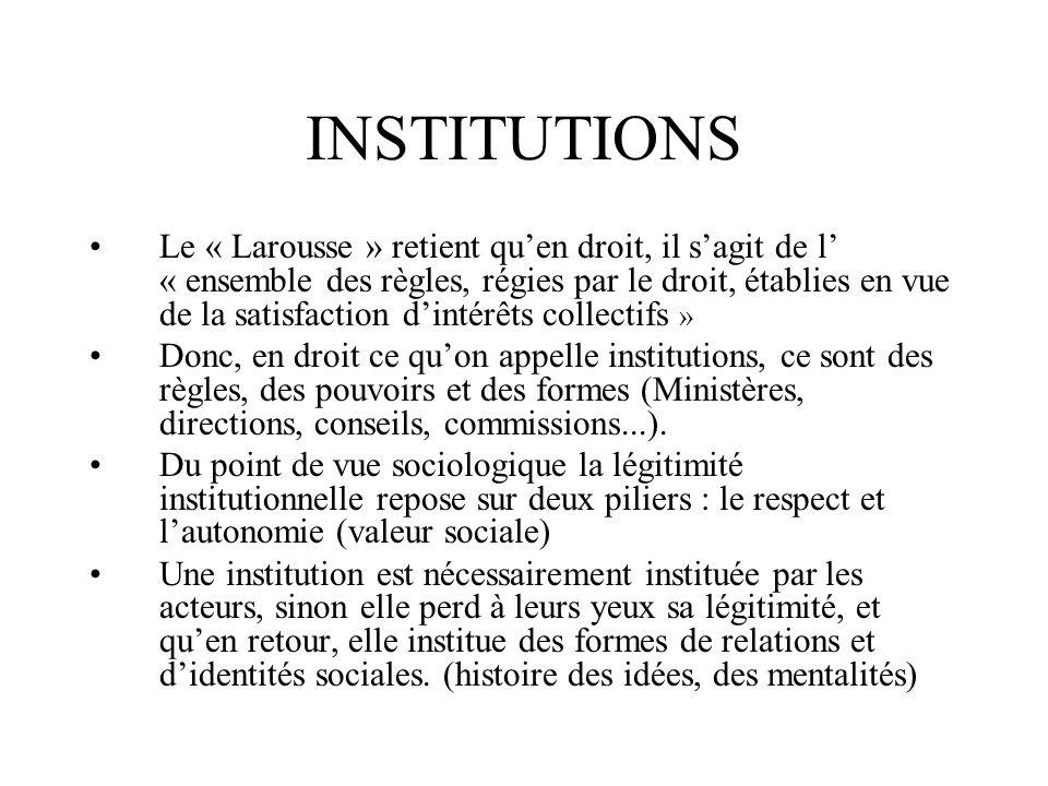 INSTITUTIONS Le « Larousse » retient quen droit, il sagit de l « ensemble des règles, régies par le droit, établies en vue de la satisfaction dintérêt