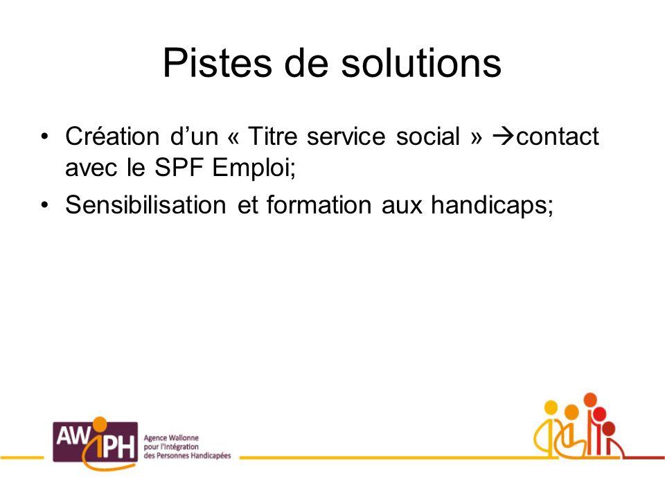 Pistes de solutions Création dun « Titre service social » contact avec le SPF Emploi; Sensibilisation et formation aux handicaps;