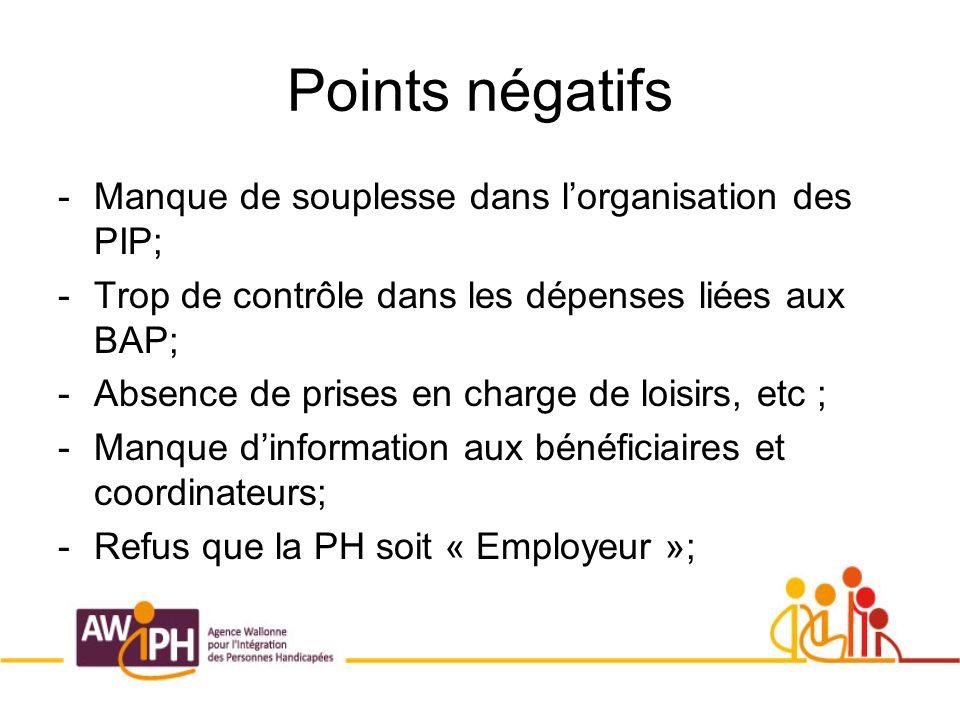 Points négatifs -Manque de souplesse dans lorganisation des PIP; -Trop de contrôle dans les dépenses liées aux BAP; -Absence de prises en charge de loisirs, etc ; -Manque dinformation aux bénéficiaires et coordinateurs; -Refus que la PH soit « Employeur »;