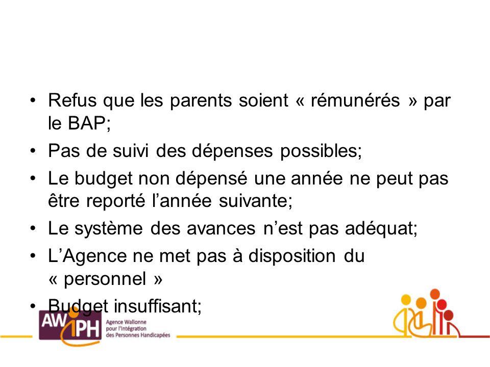 Refus que les parents soient « rémunérés » par le BAP; Pas de suivi des dépenses possibles; Le budget non dépensé une année ne peut pas être reporté lannée suivante; Le système des avances nest pas adéquat; LAgence ne met pas à disposition du « personnel » Budget insuffisant;
