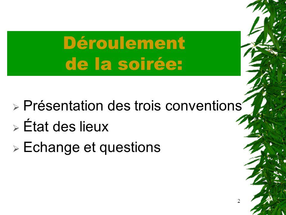 2 Déroulement de la soirée: Présentation des trois conventions État des lieux Echange et questions