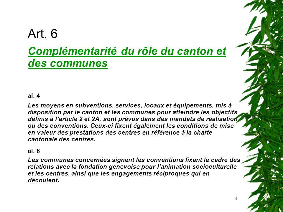 4 Art. 6 Complémentarité du rôle du canton et des communes al. 4 Les moyens en subventions, services, locaux et équipements, mis à disposition par le