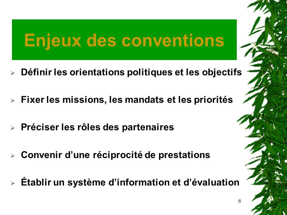 6 Enjeux des conventions Définir les orientations politiques et les objectifs Fixer les missions, les mandats et les priorités Préciser les rôles des partenaires Convenir dune réciprocité de prestations Établir un système dinformation et dévaluation