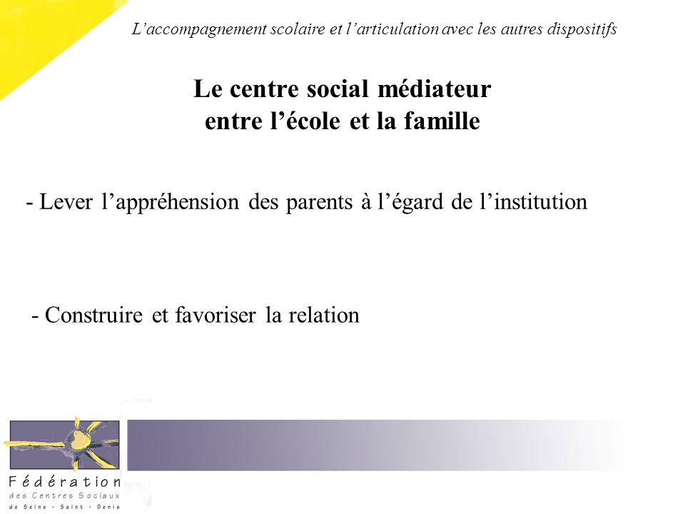 Le centre social médiateur entre lécole et la famille - Construire et favoriser la relation - Lever lappréhension des parents à légard de linstitution