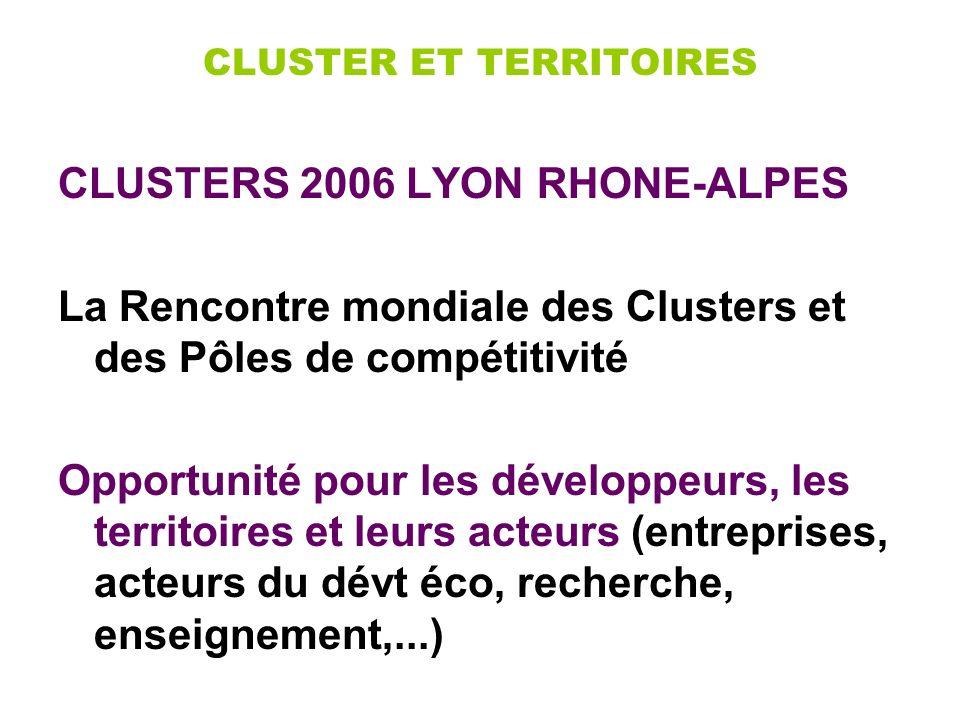 CLUSTER ET TERRITOIRES CLUSTERS 2006 LYON RHONE-ALPES La Rencontre mondiale des Clusters et des Pôles de compétitivité Opportunité pour les développeurs, les territoires et leurs acteurs (entreprises, acteurs du dévt éco, recherche, enseignement,...)