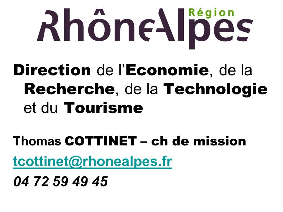 Direction de l Economie, de la Recherche, de la Technologie et du Tourisme Thomas COTTINET – ch de mission tcottinet@rhonealpes.fr 04 72 59 49 45