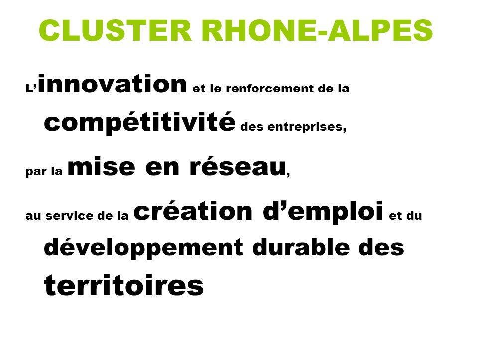 CLUSTER RHONE-ALPES L innovation et le renforcement de la compétitivité des entreprises, par la mise en réseau, au service de la création demploi et du développement durable des territoires