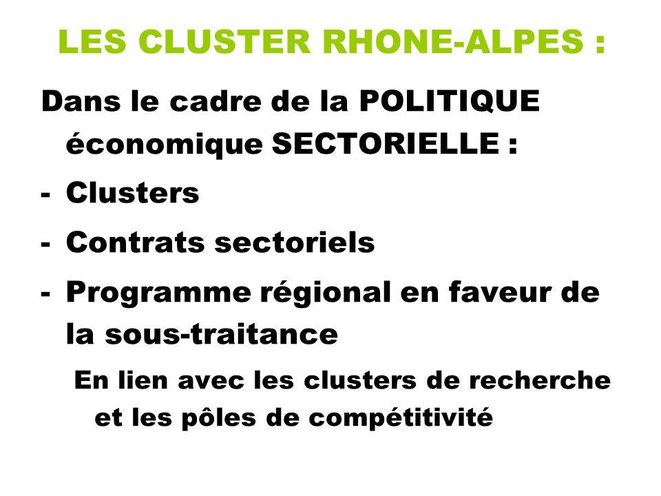 LES CLUSTER RHONE-ALPES : Dans le cadre de la POLITIQUE économique SECTORIELLE : -Clusters -Contrats sectoriels -Programme régional en faveur de la sous-traitance En lien avec les clusters de recherche et les pôles de compétitivité