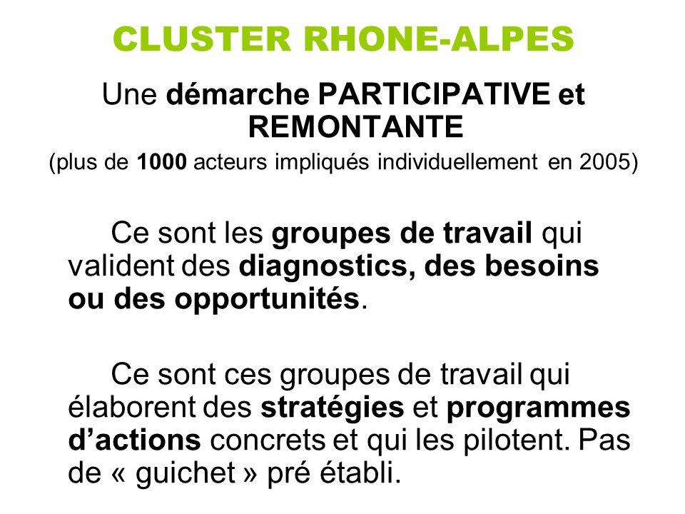 CLUSTER RHONE-ALPES Une démarche PARTICIPATIVE et REMONTANTE (plus de 1000 acteurs impliqués individuellement en 2005) Ce sont les groupes de travail qui valident des diagnostics, des besoins ou des opportunités.