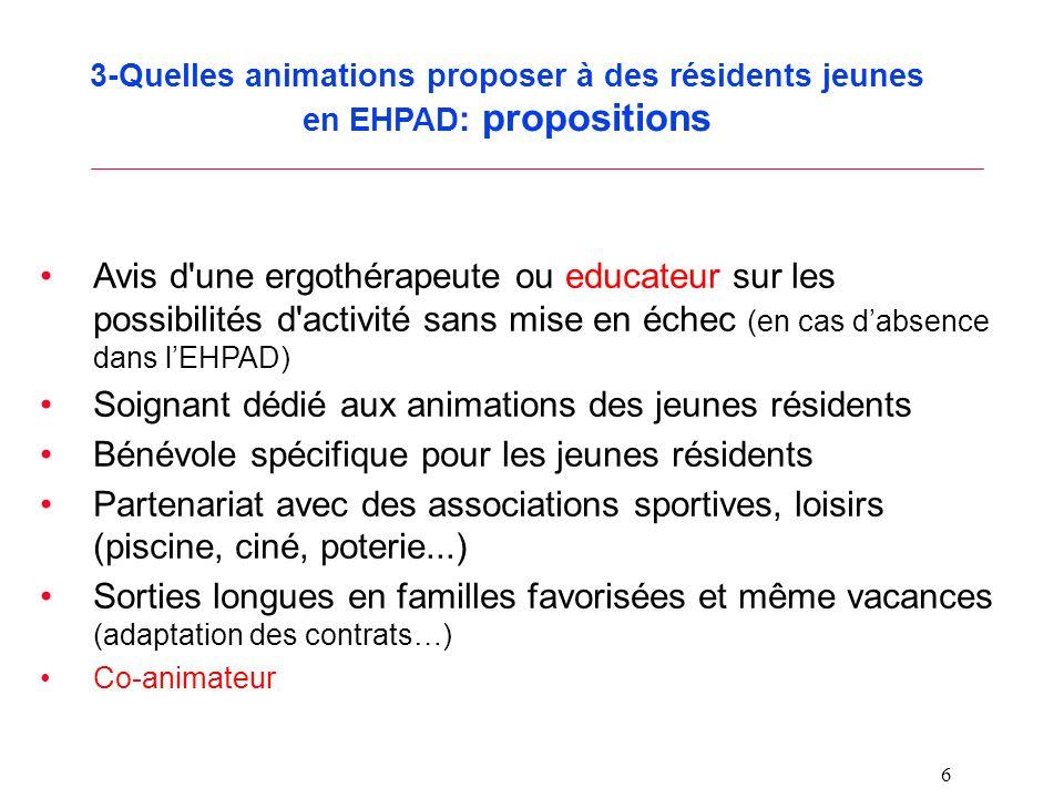 6 3-Quelles animations proposer à des résidents jeunes en EHPAD : propositions Avis d'une ergothérapeute ou educateur sur les possibilités d'activité