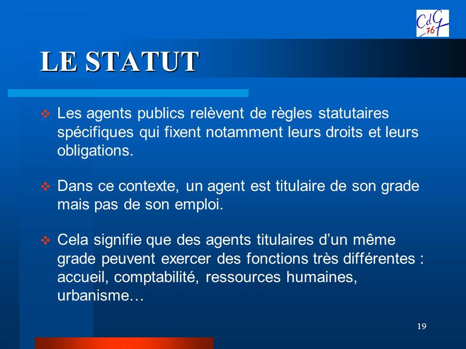19 LE STATUT Les agents publics relèvent de règles statutaires spécifiques qui fixent notamment leurs droits et leurs obligations. Dans ce contexte, u