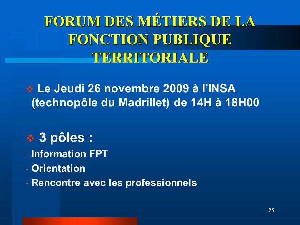 25 FORUM DES MÉTIERS DE LA FONCTION PUBLIQUE TERRITORIALE Le Jeudi 26 novembre 2009 à lINSA (technopôle du Madrillet) de 14H à 18H00 3 pôles : - Infor