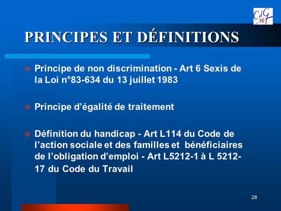 28 PRINCIPES ET DÉFINITIONS Principe de non discrimination - Art 6 Sexis de la Loi n°83-634 du 13 juillet 1983 Principe dégalité de traitement Définit