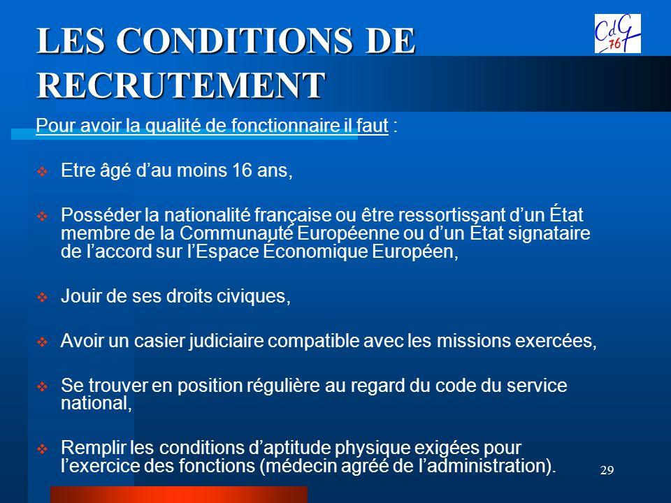 29 LES CONDITIONS DE RECRUTEMENT Pour avoir la qualité de fonctionnaire il faut : Etre âgé dau moins 16 ans, Posséder la nationalité française ou être