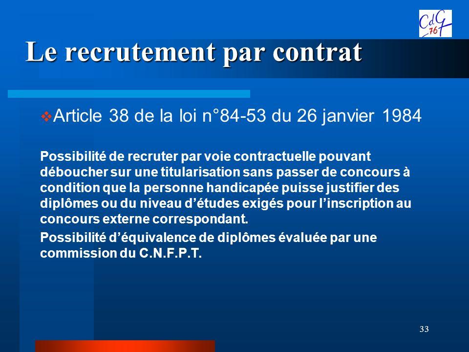 33 Le recrutement par contrat Article 38 de la loi n°84-53 du 26 janvier 1984 Possibilité de recruter par voie contractuelle pouvant déboucher sur une