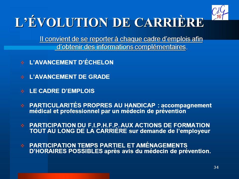 34 LÉVOLUTION DE CARRIÈRE Il convient de se reporter à chaque cadre demplois afin dobtenir des informations complémentaires. dobtenir des informations