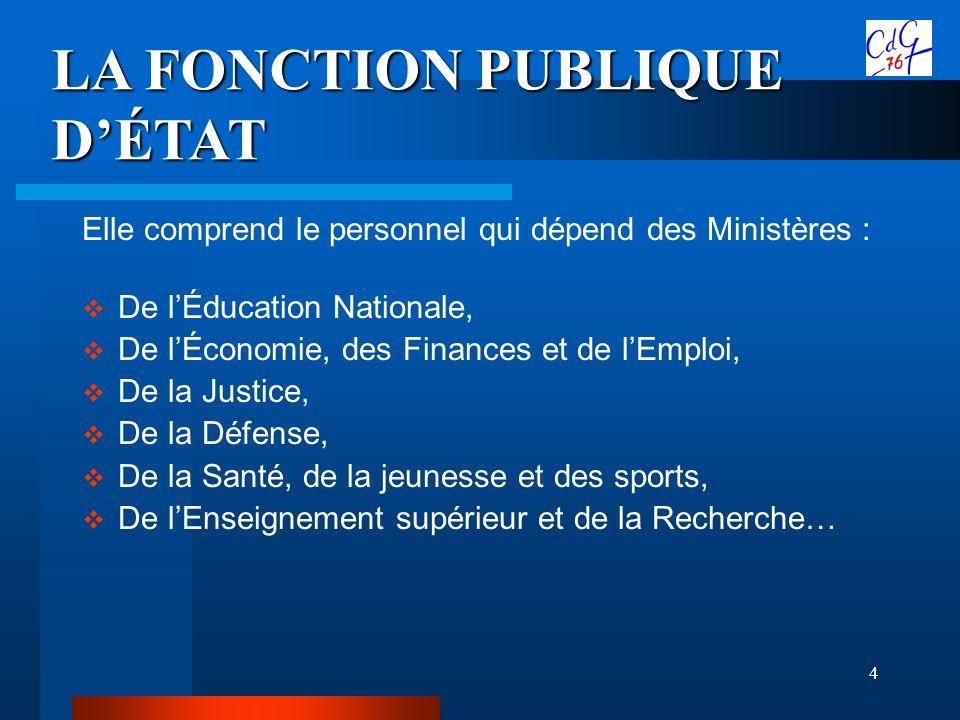 4 LA FONCTION PUBLIQUE DÉTAT Elle comprend le personnel qui dépend des Ministères : De lÉducation Nationale, De lÉconomie, des Finances et de lEmploi,