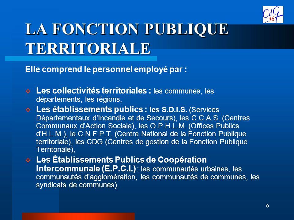 6 LA FONCTION PUBLIQUE TERRITORIALE Elle comprend le personnel employé par : Les collectivités territoriales : les communes, les départements, les rég