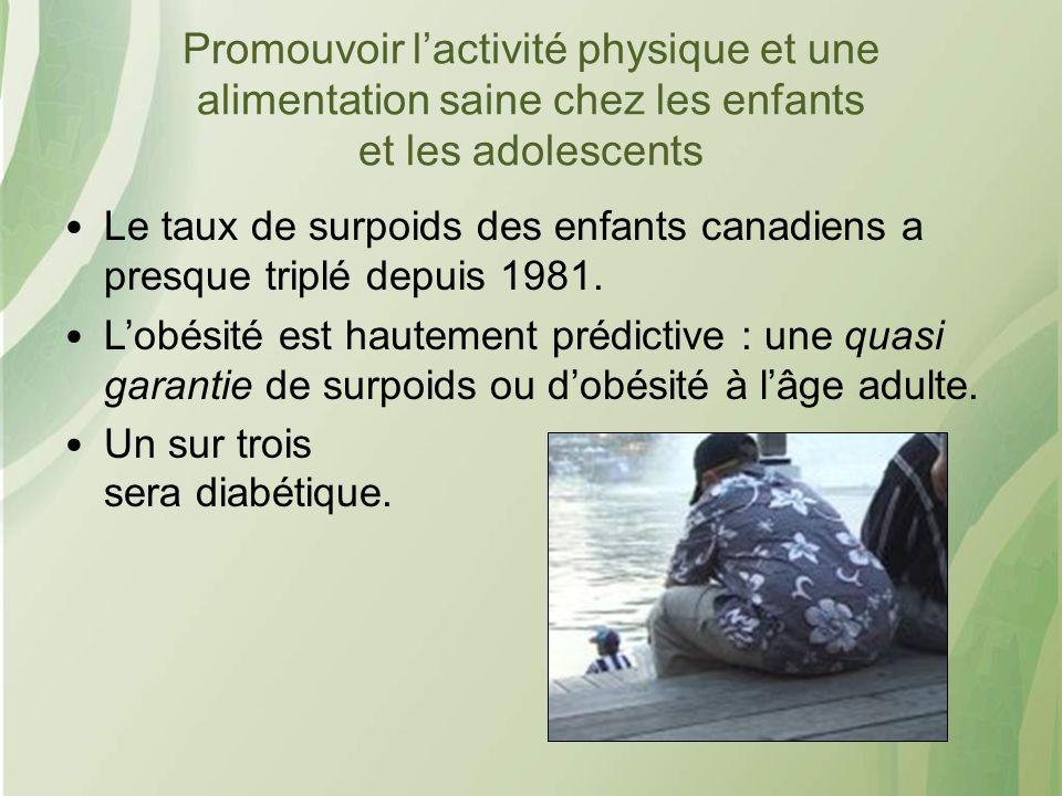 Promouvoir lactivité physique et une alimentation saine chez les enfants et les adolescents Le taux de surpoids des enfants canadiens a presque triplé depuis 1981.