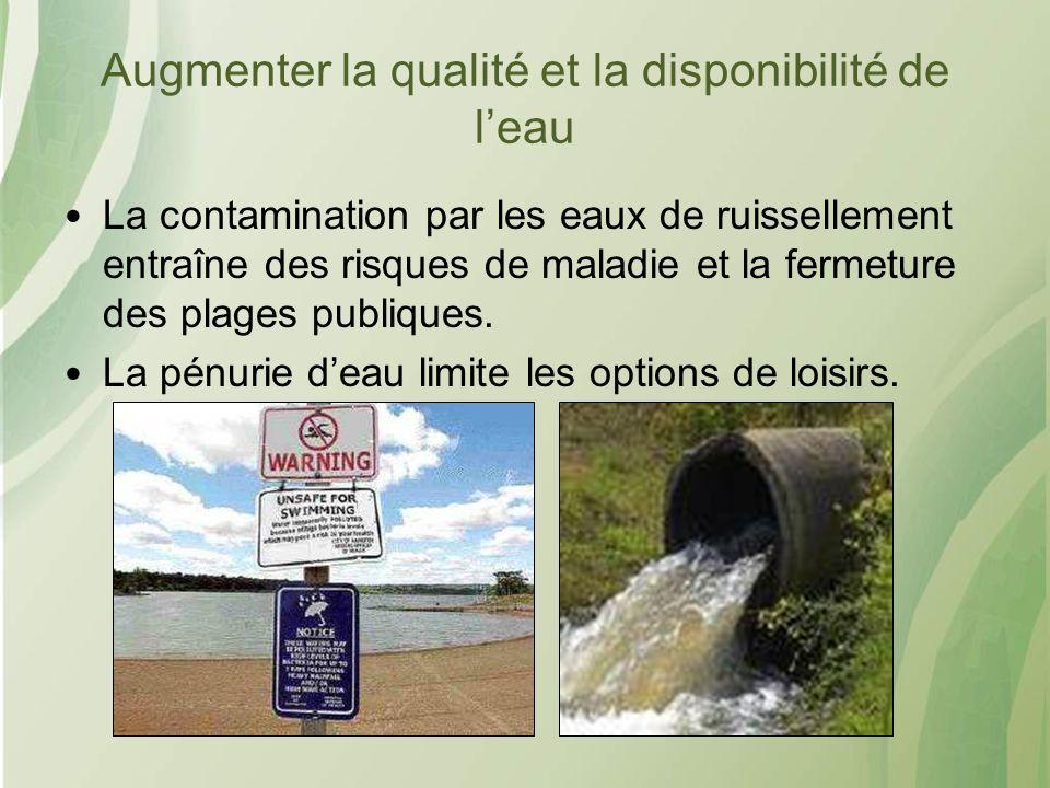 Augmenter la qualité et la disponibilité de leau La contamination par les eaux de ruissellement entraîne des risques de maladie et la fermeture des plages publiques.