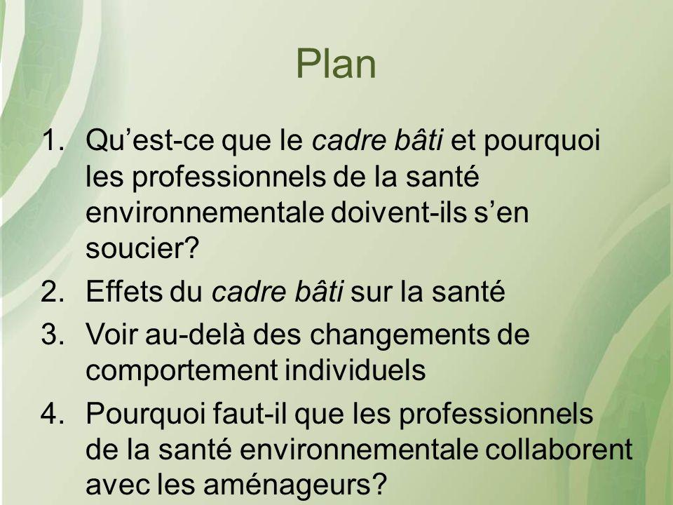 Plan 1.Quest-ce que le cadre bâti et pourquoi les professionnels de la santé environnementale doivent-ils sen soucier.