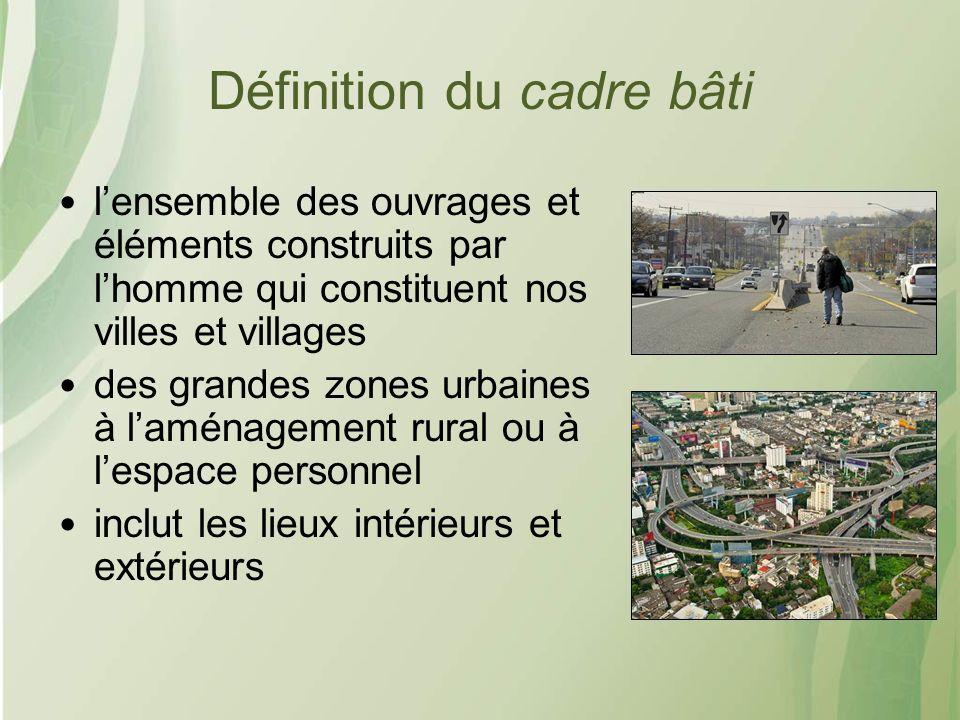 Définition du cadre bâti lensemble des ouvrages et éléments construits par lhomme qui constituent nos villes et villages des grandes zones urbaines à laménagement rural ou à lespace personnel inclut les lieux intérieurs et extérieurs